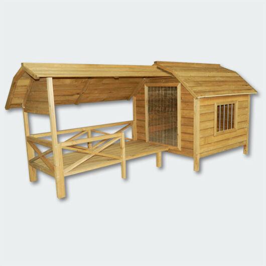 XXL kutyaház - fa erkély - terasz - rácsos ajtó