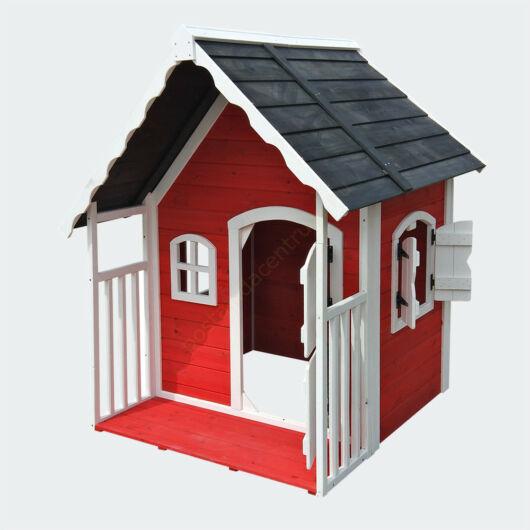 Fa játszóház gyerekeknek verandával, kicsi villa dupla ajtókkal