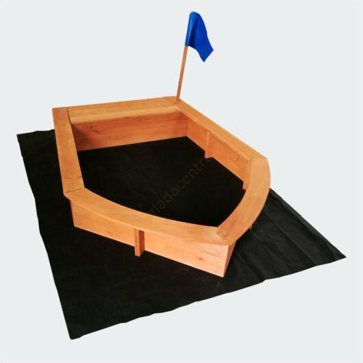 Homokozó csónak - fa gyapjú padló - fa homokozó