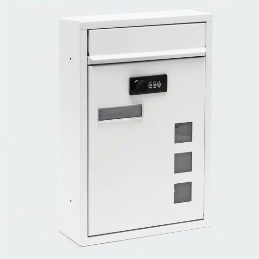 Premium, számzáras, modern fali postaláda - V6 porfestett - fehér