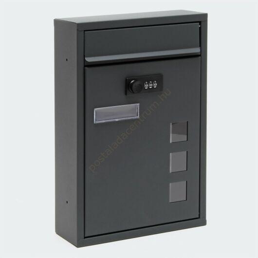 Premium, számzáras, modern fali postaláda  V6 porfestett - antracit szürke