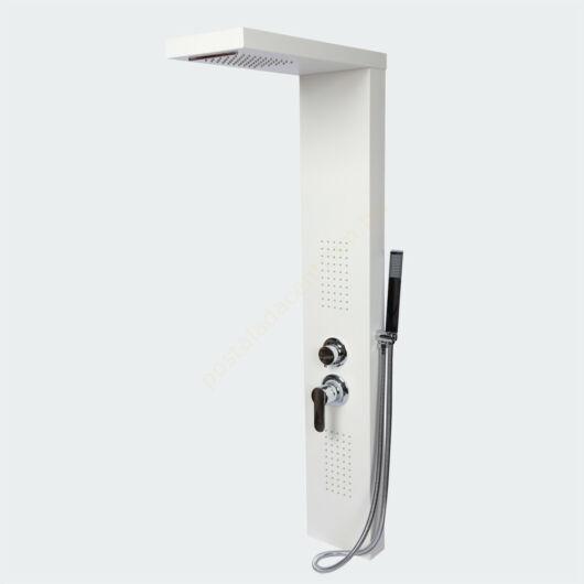 Fehér esőzuhany termosztáttal, masszázsfúvókákkal és felsőzuhannyal