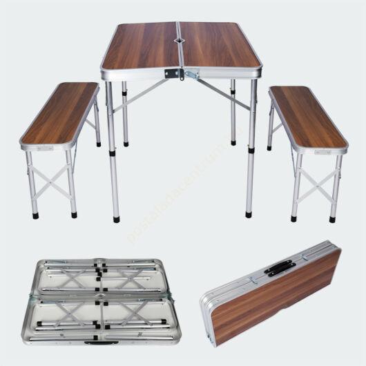 Öszecsukható, fa kialakítású kemping,- bőröndasztal, két paddal