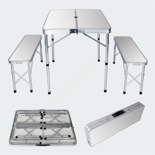 Öszecsukható, alumínium kemping,- bőröndasztal, két paddal - ezüst