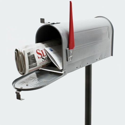 US Mailbox, ezüst színben, amerikai design, fekete állvánnyal