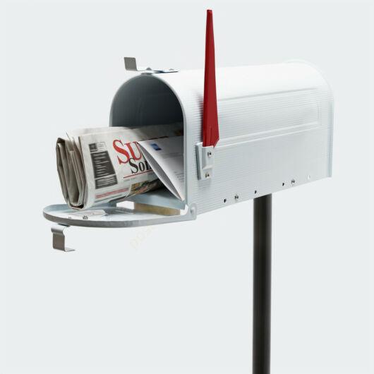 US Mailbox, fehér színben, amerikai design, fekete állvánnyal